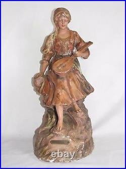 03d13 Ancienne Statue Pltre Polychrome Femme Gitane A La Mandoline Art Nouveau