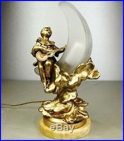 1900/1920 Ad. Truffier Rare Lampe Statue Sculpture Art Nouveau/deco Pierrot Lune