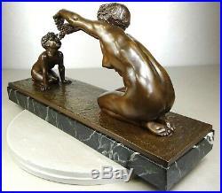1910/1920 L Alliot Rare Statue Sculpture Art Deco Bronze Nymphe Femme Nue Satyr