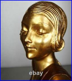 1920/1930 A Godard Grande Belle Statue Sculpture Art Deco Femme Elegante Faisans