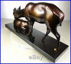 1920/1930 A Sinko Rare Gr Statue Sculpture Art Deco Animaliere Bronze Biche Faon
