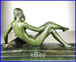 1920/1930 Ary Bitter Rare Statue Sculpture Art Deco Femme Nue Agneau Terre Cuite