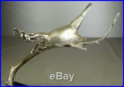 1920/1930 Av Becquerel Statue Sculpture Art Deco Bronze Argente Oiseau Animalier