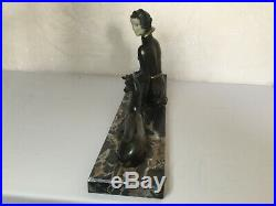 #1920/1930 BELLE STATUE SCULPTURE ART DECO FEMME ET BICHE Dlg LIMOUSIN 58 cm
