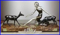 1920/1930 De Roncourt Rare Gr Statue Sculpture Art Deco Diane Chasseresse Biches