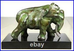 1920/1930 De Saint-floris Rare Statue Sculpture Bronze Art Deco Cubisme Elephant
