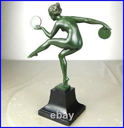 1920/1930 Derenne M Bouraine M Le Verrier Statue Sculpture Danseuse Nue Art Deco