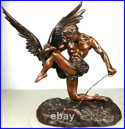 1920/1930 Dh. Chiparus Rare Statue Sculpture Art Deco Chasseur Nu Aigle Herakles