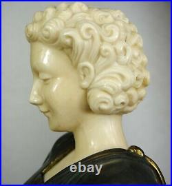 1920/1930 G. Gori Statue Sculpture Art Deco Chryselephantine Bronze Dore Barzoïs