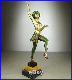 1920/1930 H Molins Grd Statue Sculpture Art Deco Danseuse Femme Nue Orientaliste
