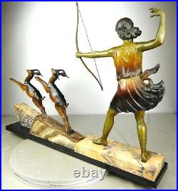 1920/1930 H Molins Grnde Rare Statue Sculpture Art Deco Diane Chasseresse Gitane