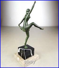 1920/1930 H. Molins Rare Mascotte Auto Sculpture Statue Bronze Art Deco Danseuse