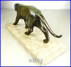 1920/1930 I Rochard Statue Sculpture Animaliere Ep Art Deco Panthere Felin Fauve