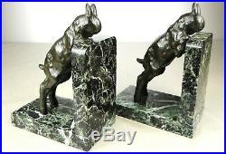 1920/1930 Ir. Rochard Serre-livres Statue Sculpture Art Deco Animalier Chevreaux