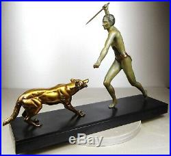 1920/1930 J Brault Rare Grd Statue Sculpture Bronze Art Deco Chasse Loup Athlete
