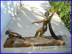1920/1930 J Dauvergne Rare Grande Statue Sculpture Ep Art Deco Diane Chasseresse