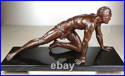 1920/1930 J De Roncourt Grnde Statue Sculpture Art Deco Homme Athlete Sportif Nu
