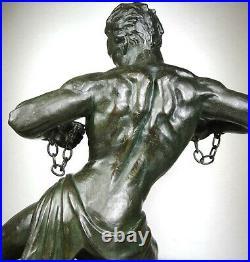 1920/1930 J. De Roncourt Rare Statue Sculpture Art Deco Homme Athlete Nu Hercule