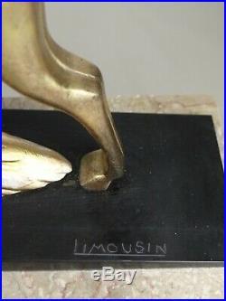 1920/1930 Limousin Rare Belle Statue Sculpture Ep. Art Deco Femme Biche Fontaine