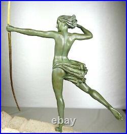 1920/1930 M Bouraine M Le Verrier Demarco Grd Statue Sculpture Art Deco Atalante