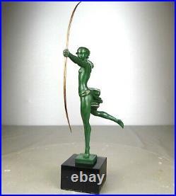 1920/1930 M Bouraine M Le Verrier Demarco Statue Sculpture Art Deco Atalante Nu