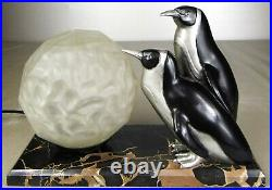 1920/1930 M Bouraine M Le Verrier Rare Statue Sculpture Lampe Art Deco Pingouins