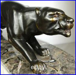 1920/1930 Marti Font Statue Sculpture Pendule Garniture Art Deco Panthere Noire