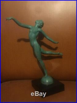 1920/1930 Max Le Verrier Rare Statue Sculpture Art Deco Danseuse Nue Femme