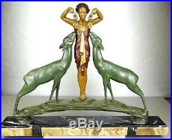 1920/1930 R Loyse Rare Grde Sprb Statue Sculpture Art Deco Diane Danseuse Biches