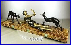 1920/1930 S. Melani Grande Statue Sculpture Ep Art Deco Femme Elegante Et Biches