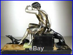 1920/1930 Uriano Grd Statue Sculpture Art Deco Diane Chasseresse Levriers Barzoï