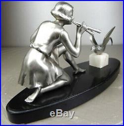 1920/30 Geo Maxim G. Omerth Rar Statue Sculpture Art Deco Femme Oiseau Trompette