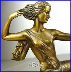 1920/30 J Sabartes Gual Statue Sculpture Art Deco Chryselephantine Bronze Diane
