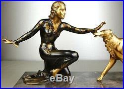 1920/30 Roggia Menneville Statue Sculpture Art Deco Femme Elegante Chien Barzoï