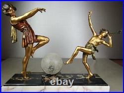 1920 E Carlier Rare Grande Lampe Statue Sculpture Art Deco Danseuse A Toge Faune