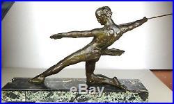 1920 M Decoux Gr Rare Statue Sculpture Art Deco Cubisme Bronze Chasseur Homme Nu