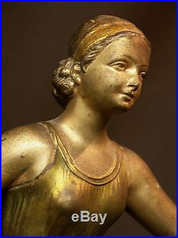AA 1900 statue groupe 58cm art nouveau dame 1900 chien statue régule bronze déco
