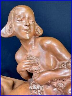ARMAND GODARD SUPERBE SCULPTURE TERRE CUITE ART DECO KAZA EDITEUR STATUE Ca 1925