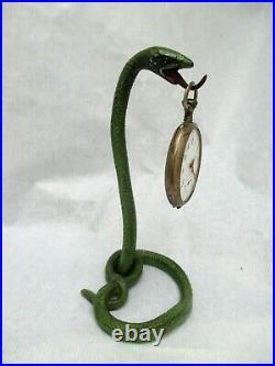 ART DECO Serpent Snake Cobra PORTE MONTRE GOUSSET Pocket watch stand Holder
