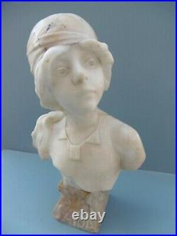 ART NOUVEAU Emmanuel VILLANIS RARE BUSTE SIGNE MARBRE BLANC SAIDA Sculpture