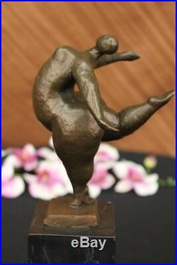 Abstrait Moderne Art Femme Bronze Sculpture Signé Milo Statue Figurine Affaire