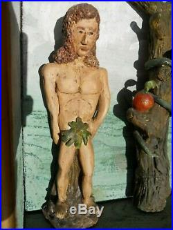 Adam & Eve en terre cuite objet pour cabinet de curiosité art naïf art populaire