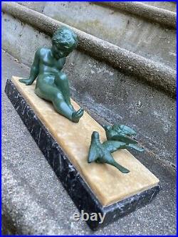 Affortunato Gory Superbe Sculpture Enfant Aux Oiseaux Statue Art Deco Statue
