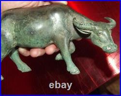 Ancien Buffle en Bronze Statue Sculpture artisanat d'art Asie Vintage 18 cm