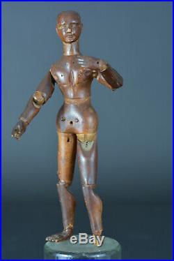 Ancien Petit mannequin de peintre en bois sculpté 18 ème Voyage art populaire