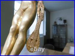 Ancien bronze époque art nouveau jeune femme à la mandoline statue sculpture