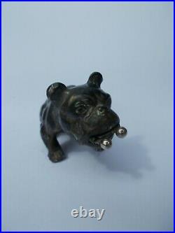 Ancien coupe cigarette art deco english bulldog anglais sculpture regule bronze
