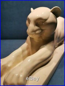 Ancienne Panthère Sarguemines France Faïence Blanche Sculpture Statue Art Déco