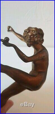 Ancienne Sculpture Statue Jongleuse De Contre-Socle en bronze Art-déco