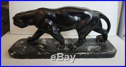 Ancienne Sculpture d'Une Panthère Qui Rode Style Art Déco